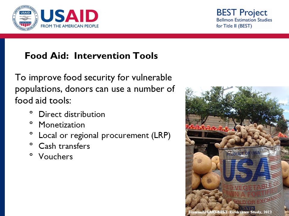 Food Aid: Intervention Tools