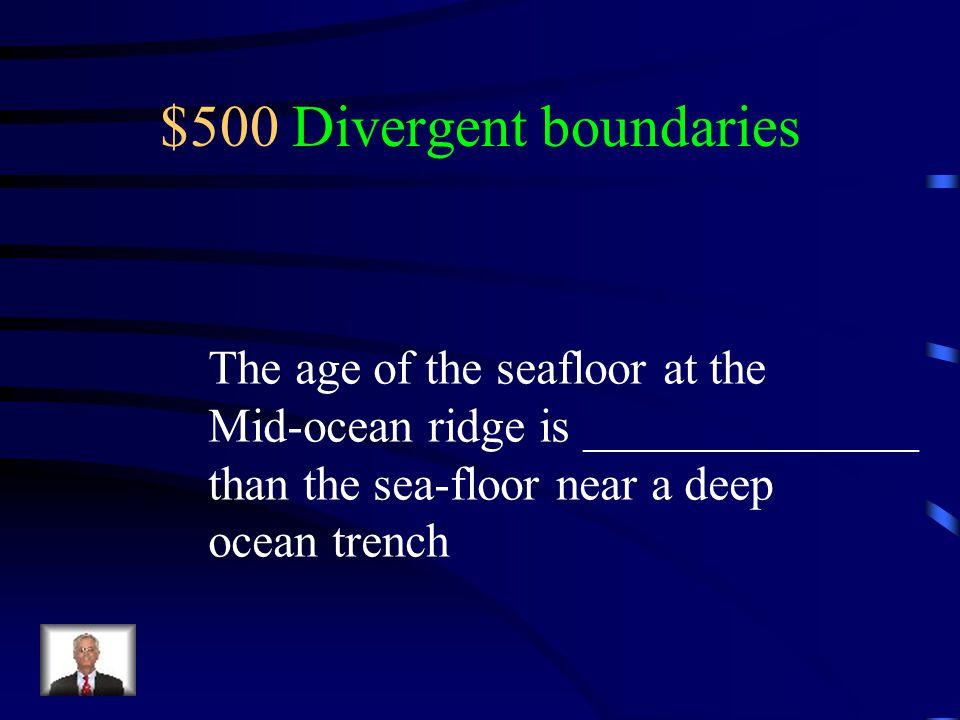 $500 Divergent boundaries