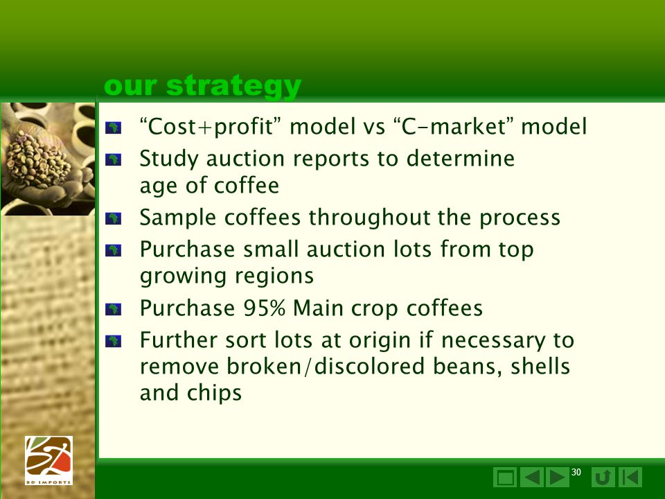 our strategy Cost+profit model vs C-market model