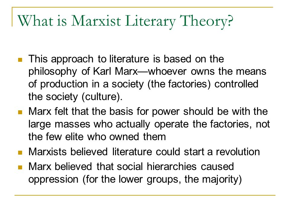 What is Marxist Literary Theory