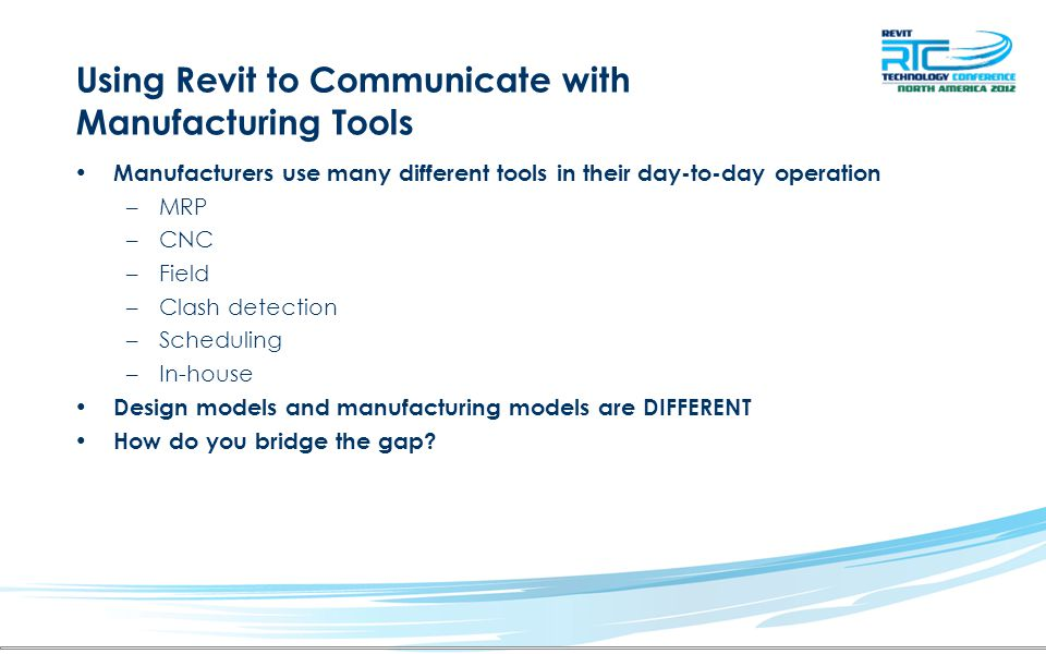 Using Revit to Communicate with Manufacturing Tools