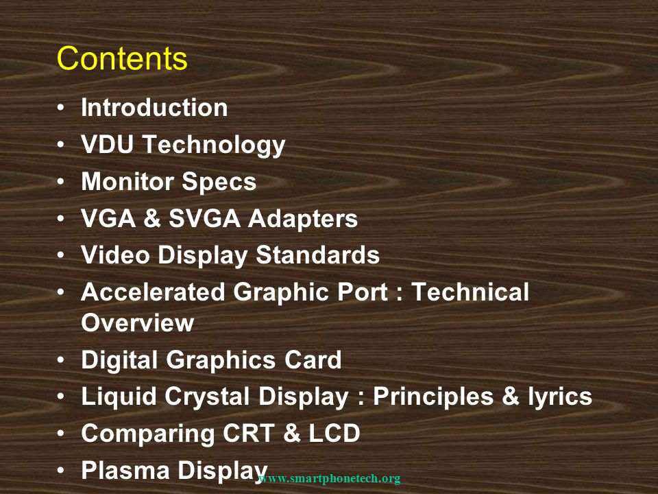 Contents Introduction VDU Technology Monitor Specs VGA & SVGA Adapters