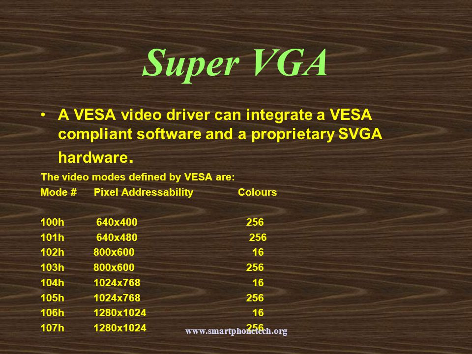 Super VGA A VESA video driver can integrate a VESA compliant software and a proprietary SVGA hardware.