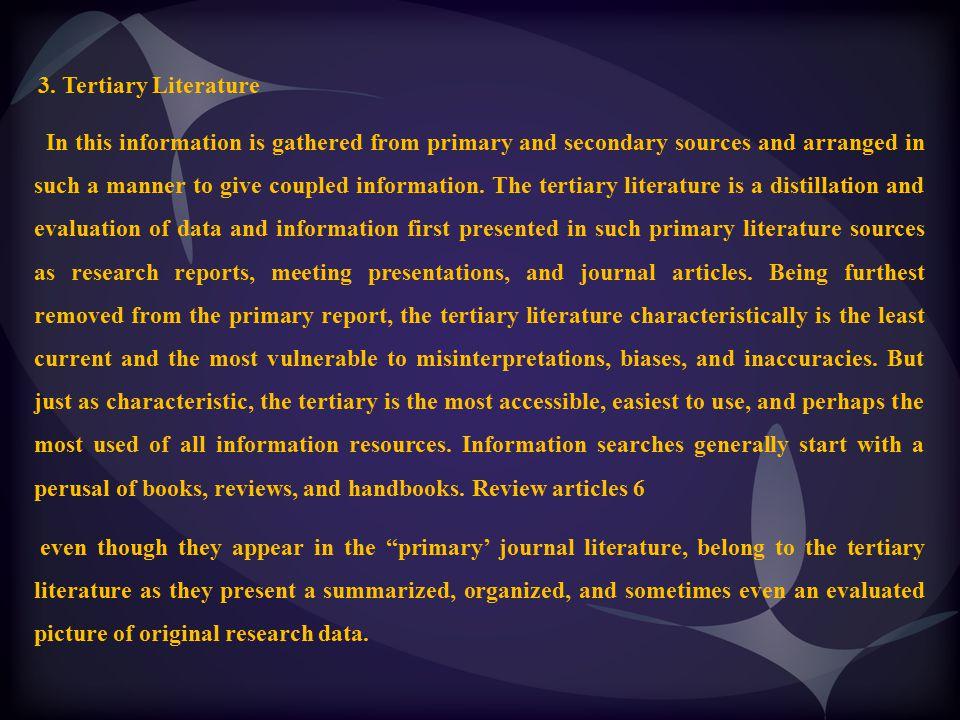 3. Tertiary Literature
