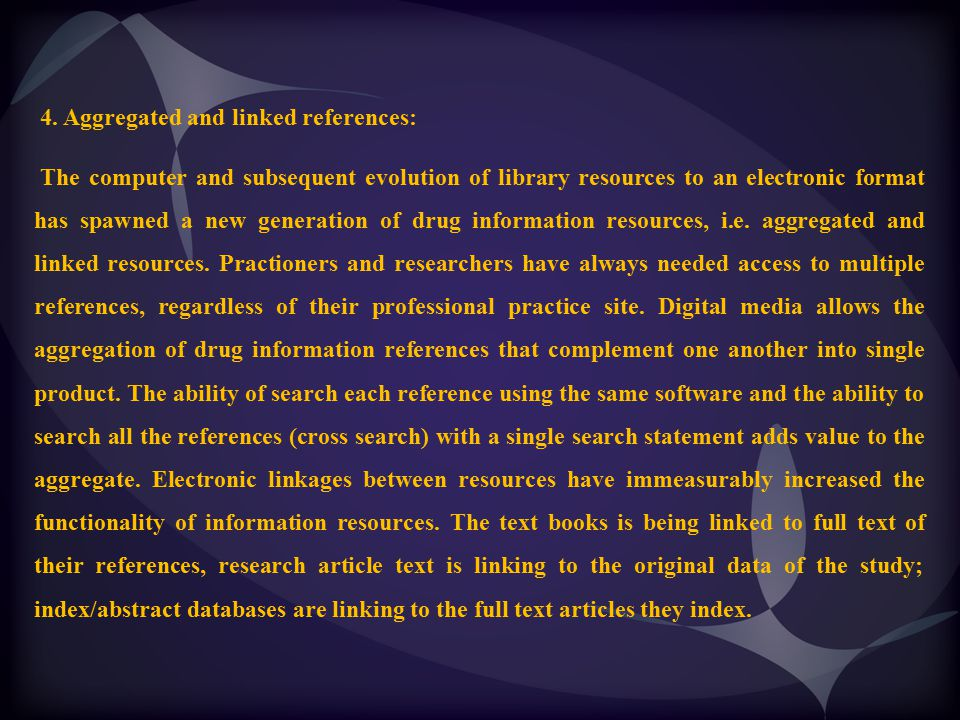 4. Aggregated and linked references:
