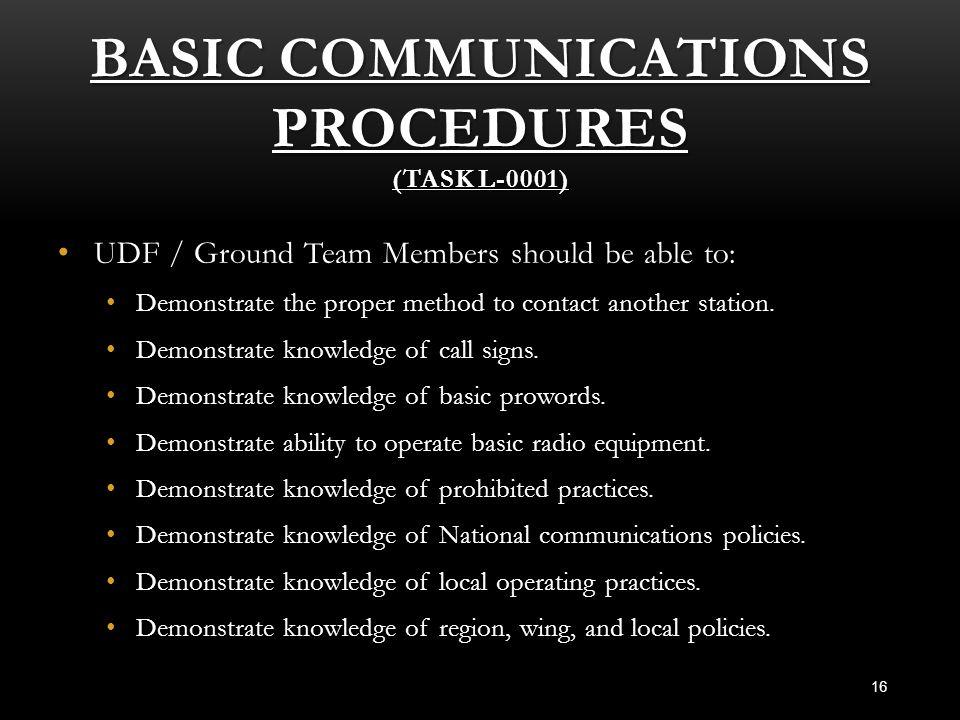 Basic Communications Procedures (Task L-0001)