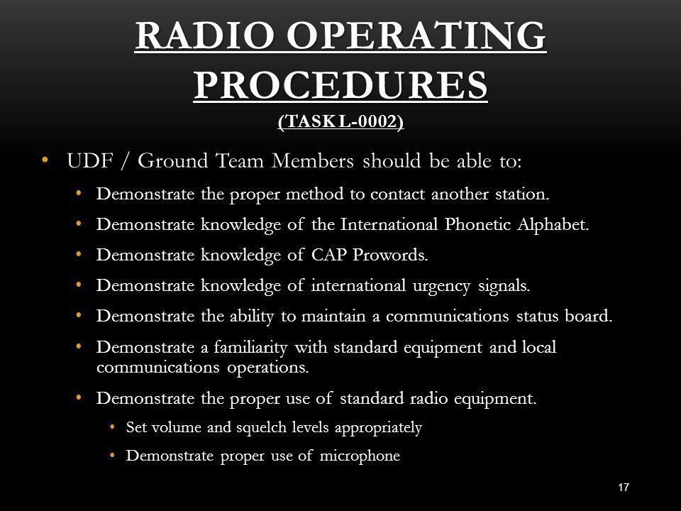 Radio Operating Procedures (Task L-0002)