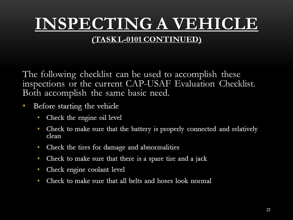 Inspecting a Vehicle (Task L-0101 Continued)