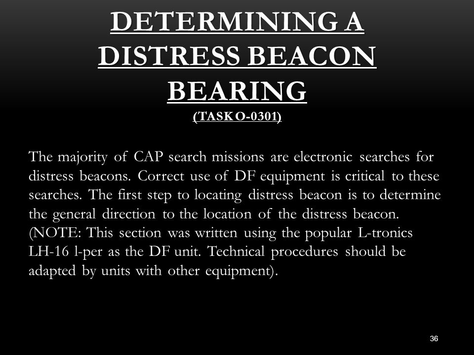 Determining A Distress Beacon Bearing (Task O-0301)