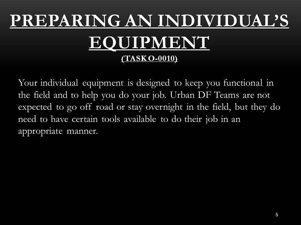 Preparing an Individual's Equipment (Task O-0010)