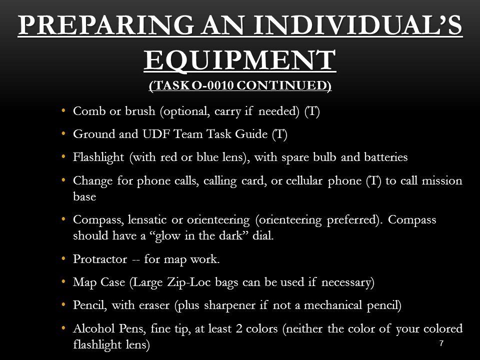 Preparing an Individual's Equipment (Task O-0010 Continued)