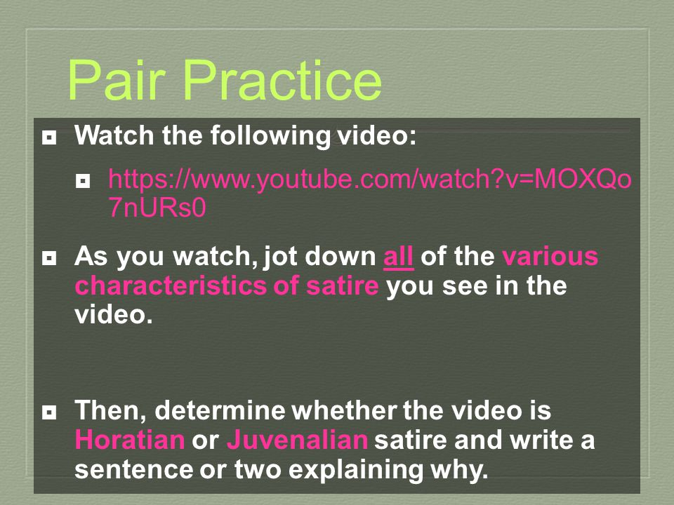 Pair Practice Watch the following video: