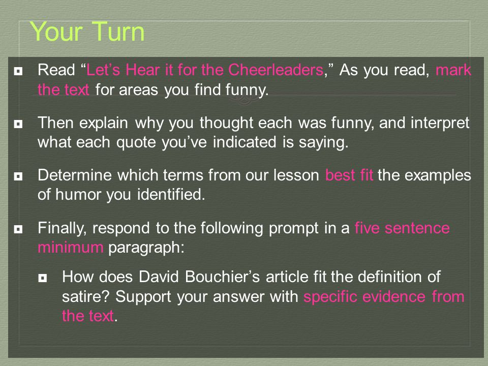 Your Turn Read Let's Hear it for the Cheerleaders, As you read, mark the text for areas you find funny.