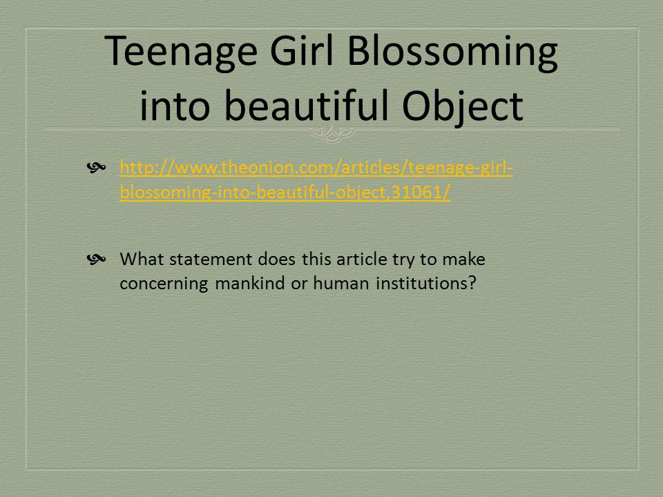 Teenage Girl Blossoming into beautiful Object