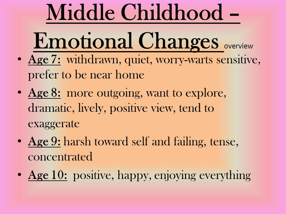Middle Childhood – Emotional Changes overview