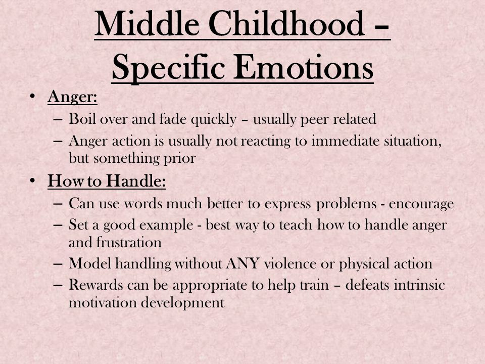 Middle Childhood – Specific Emotions