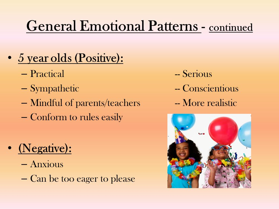 General Emotional Patterns - continued