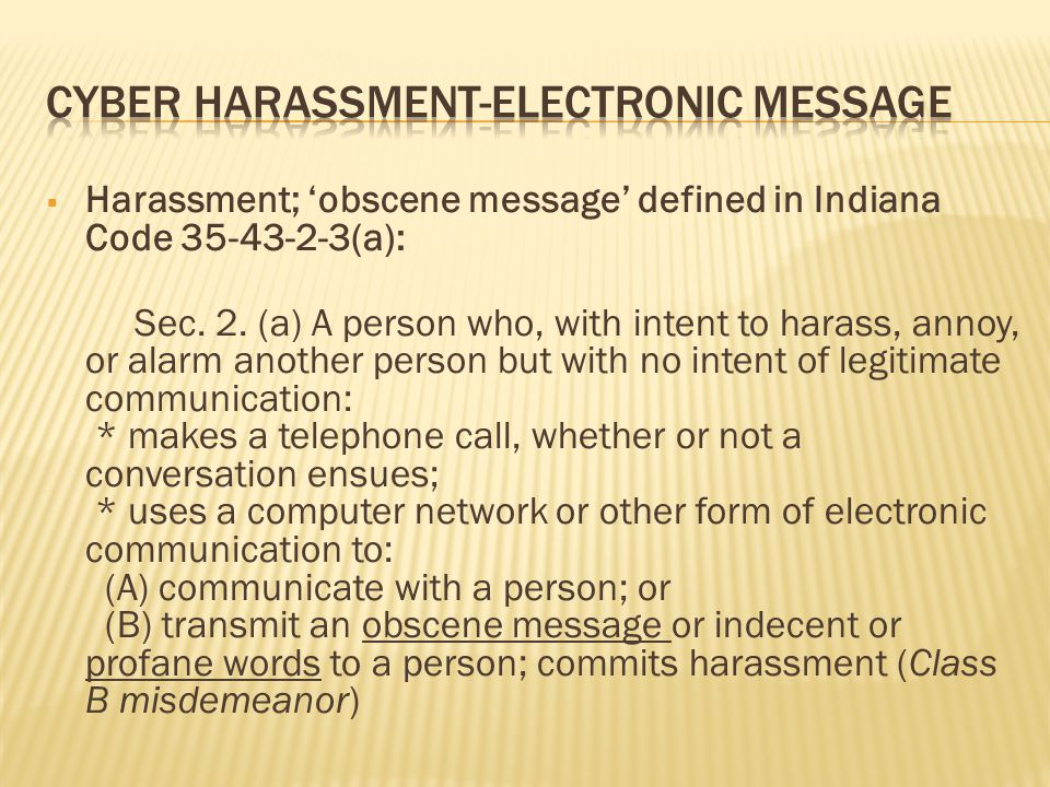 Cyber Harassment-Electronic message