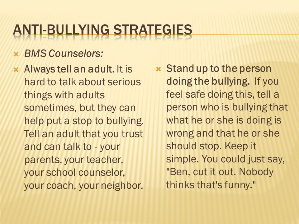 Anti-bullying strategies