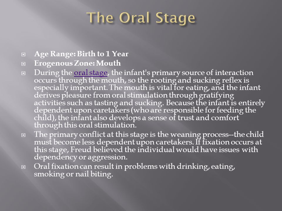 The Oral Stage Age Range: Birth to 1 Year Erogenous Zone: Mouth