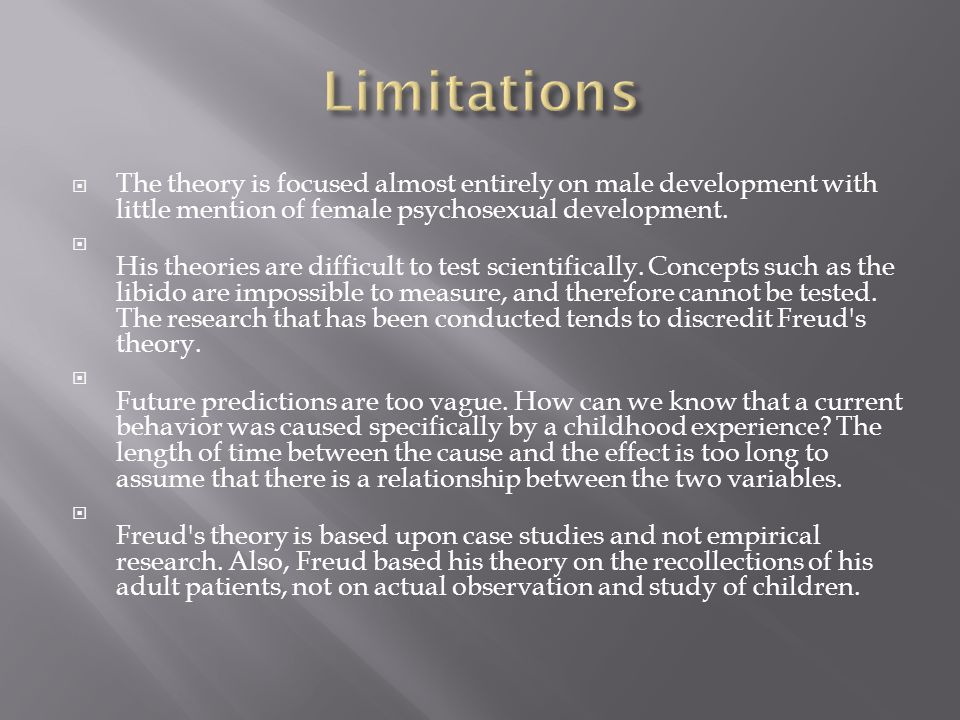 Limitations The theory is focused almost entirely on male development with little mention of female psychosexual development.