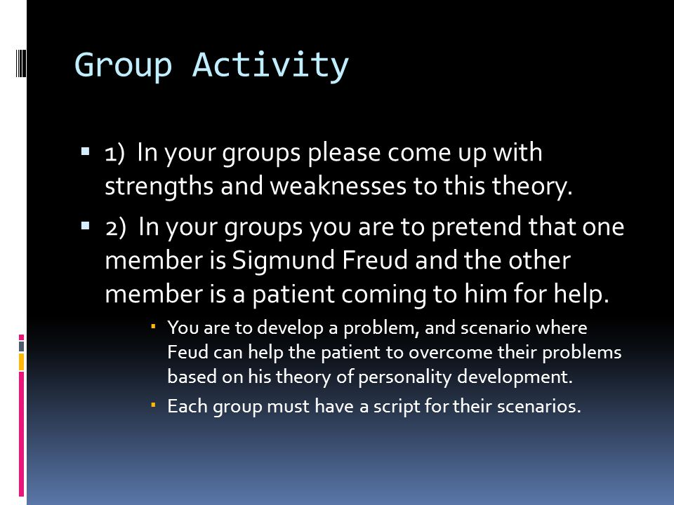 Group Activity 1) In your groups please come up with strengths and weaknesses to this theory.
