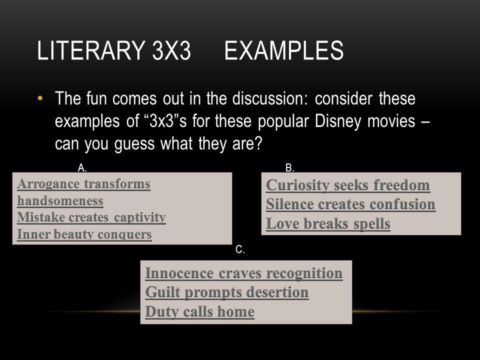 Literary 3x3 examples