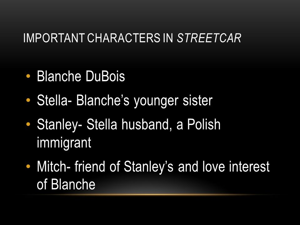 Important Characters in Streetcar