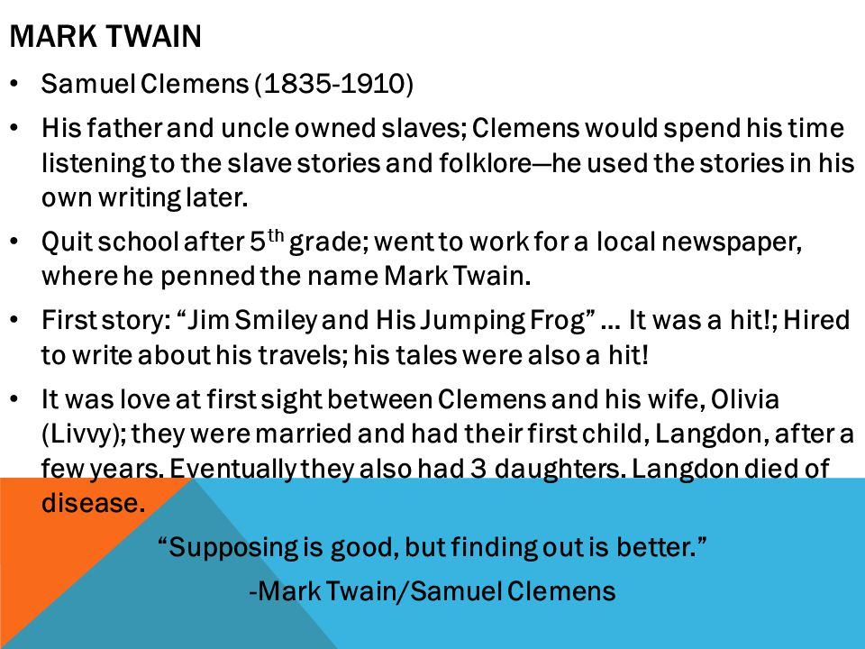 Mark Twain Samuel Clemens (1835-1910)