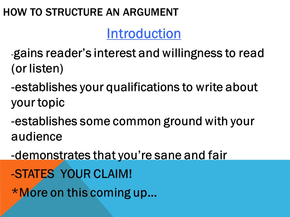 How to Structure an argument