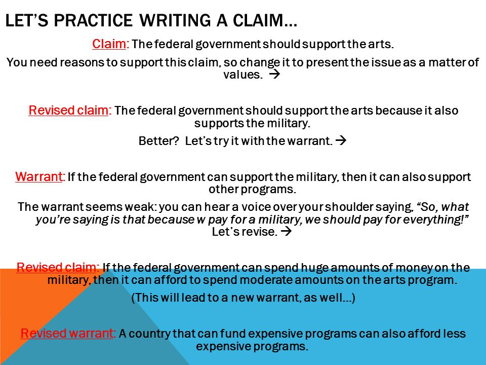 Let's Practice writing a claim…