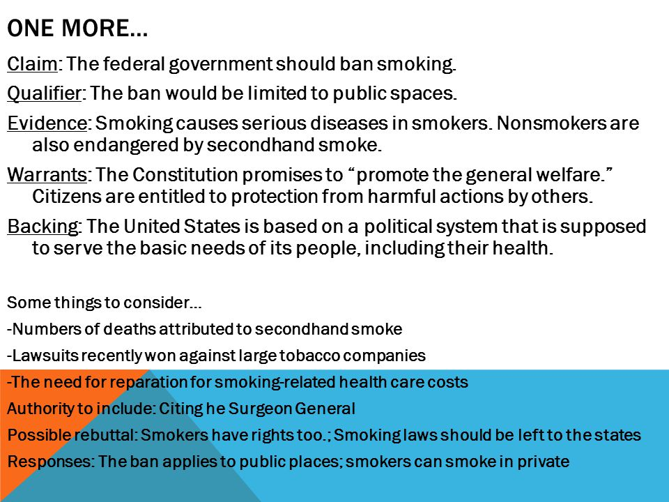One more… Claim: The federal government should ban smoking.