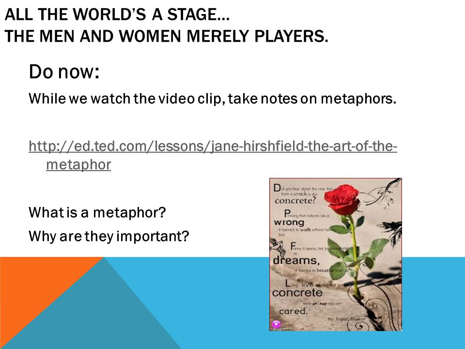 All the world's a stage… the men and women merely players.