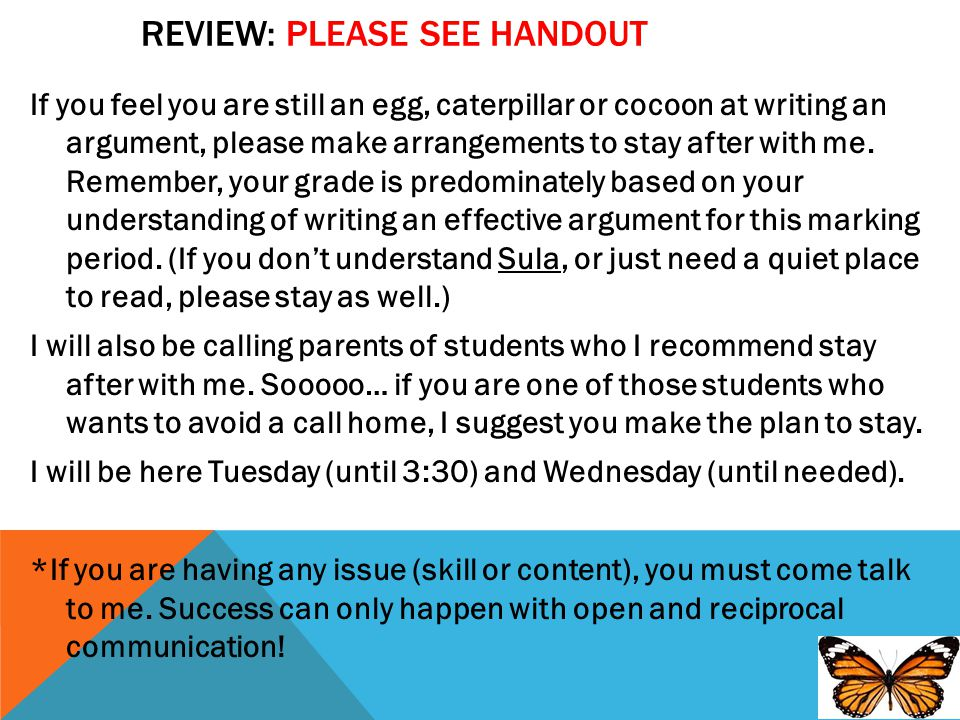 Review: Please see handout