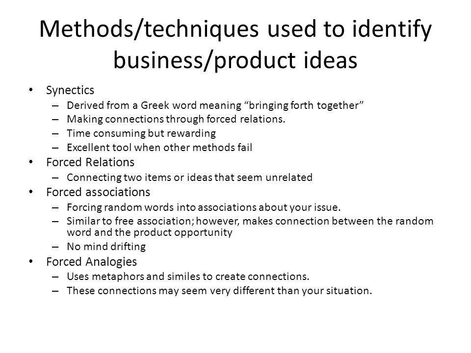 Methods/techniques used to identify business/product ideas