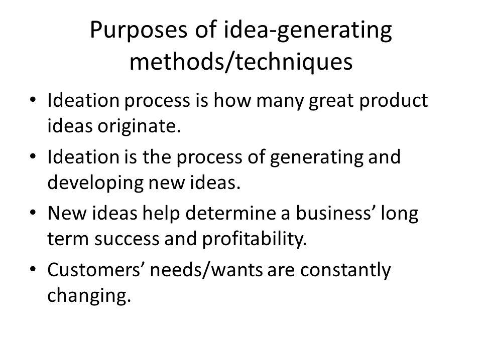Purposes of idea-generating methods/techniques