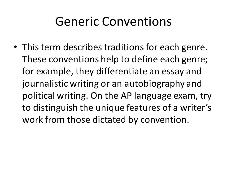 Generic Conventions
