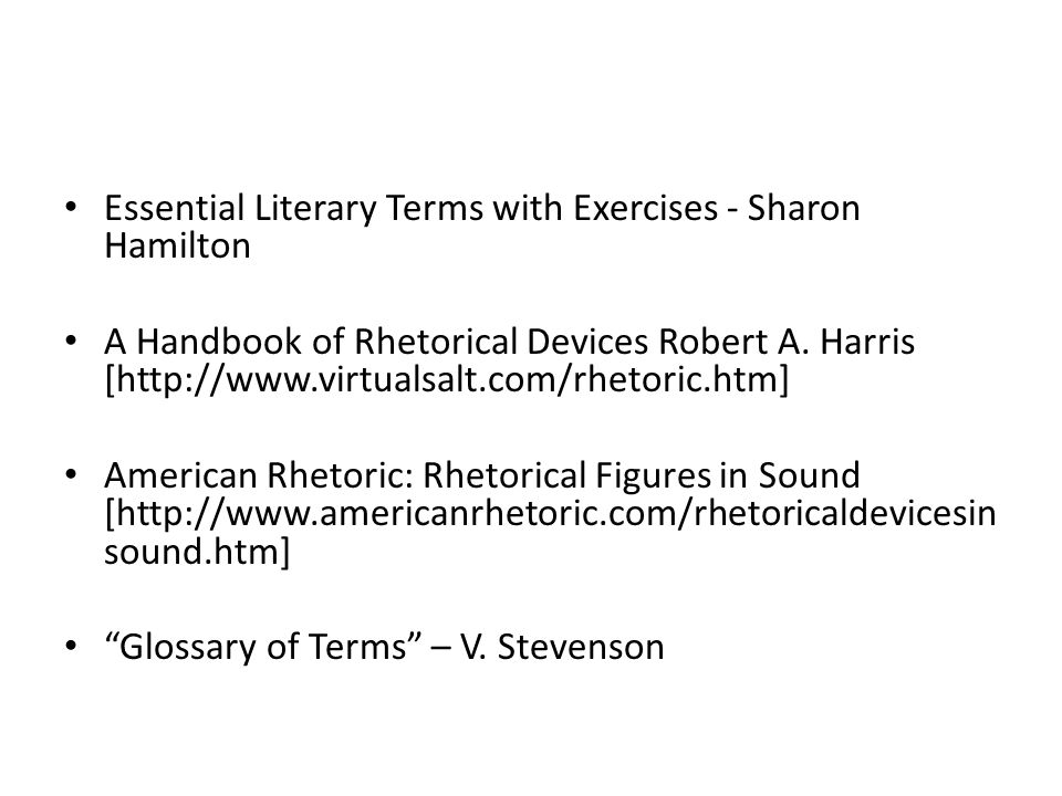 Essential Literary Terms with Exercises - Sharon Hamilton