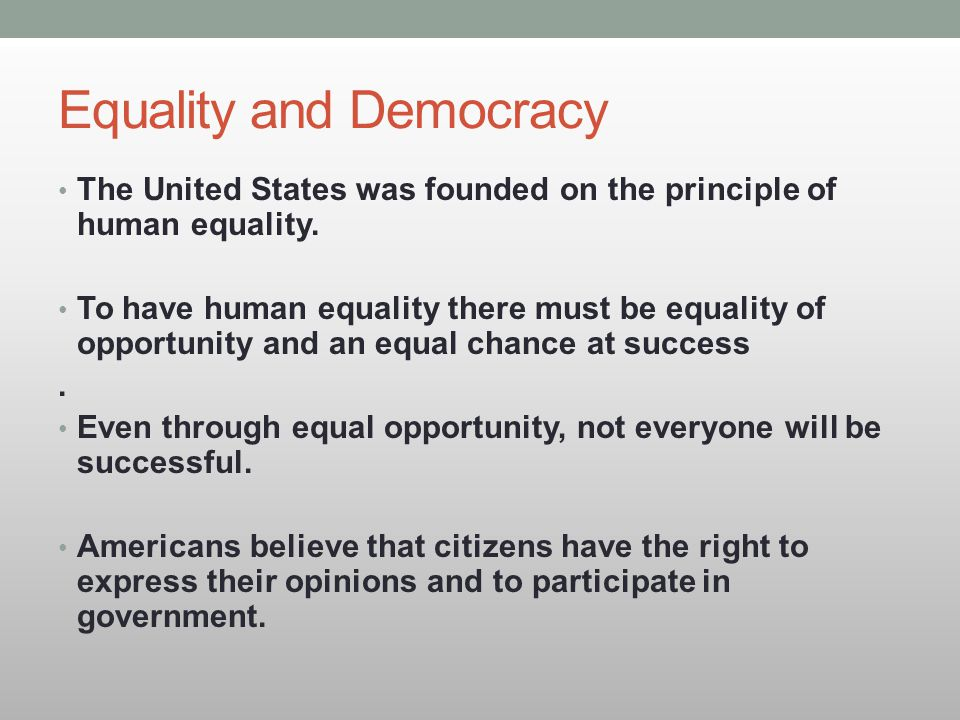 Equality and Democracy