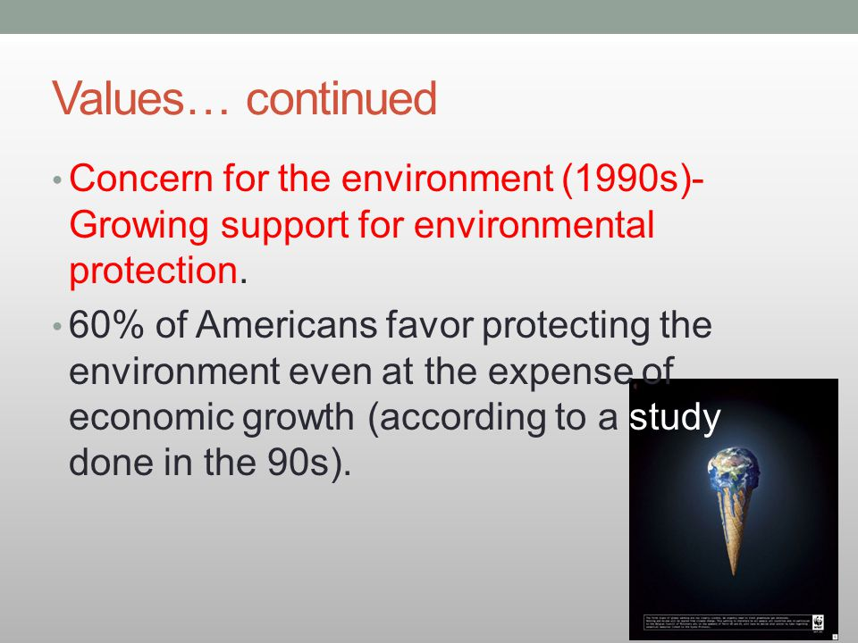 Values… continued Concern for the environment (1990s)- Growing support for environmental protection.