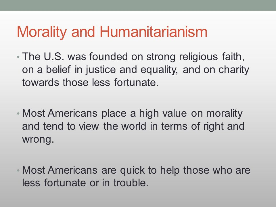 Morality and Humanitarianism