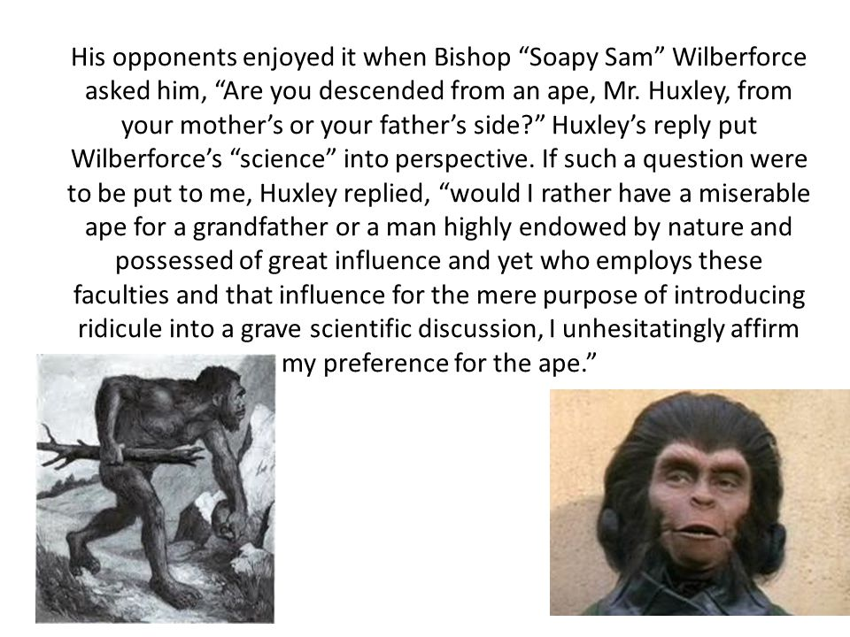 His opponents enjoyed it when Bishop Soapy Sam Wilberforce asked him, Are you descended from an ape, Mr.