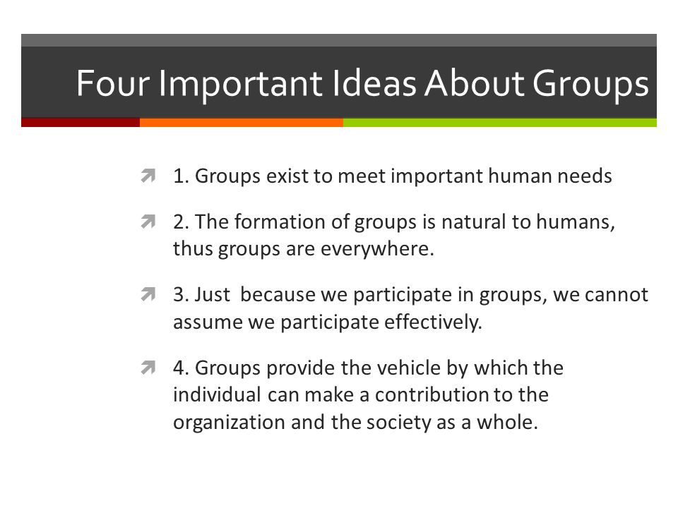 Four Important Ideas About Groups