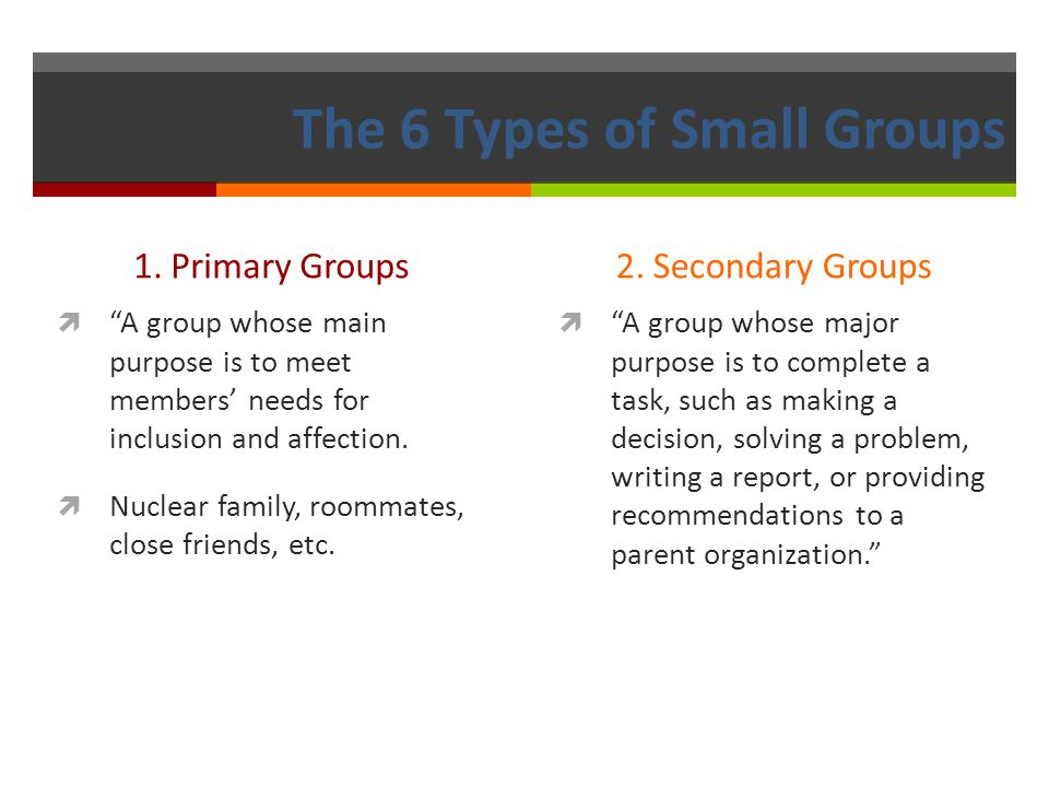 The 6 Types of Small Groups