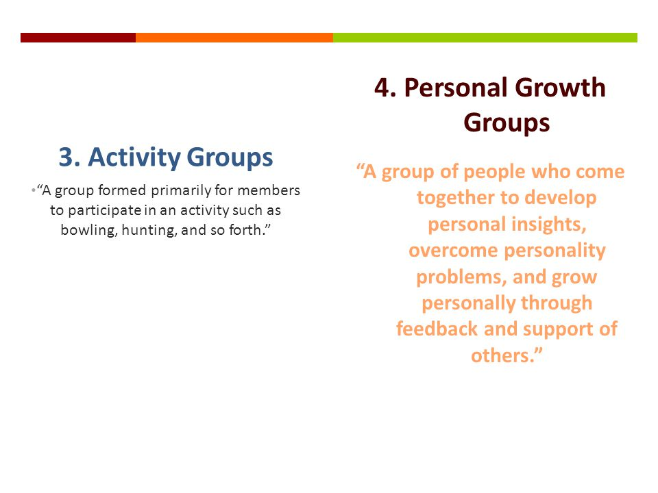 4. Personal Growth Groups