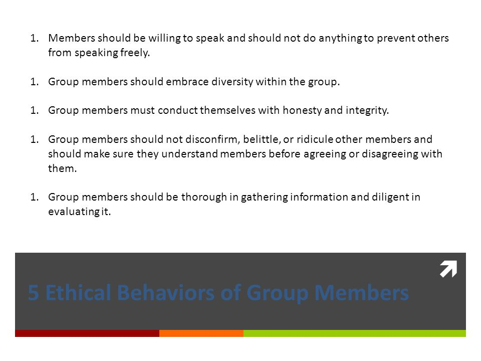 5 Ethical Behaviors of Group Members
