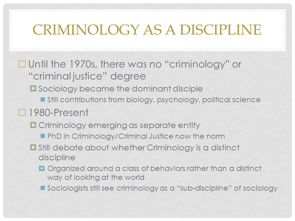 Criminology as a Discipline