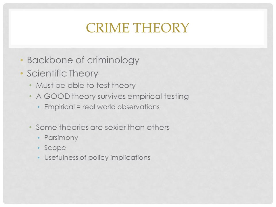 Crime Theory Backbone of criminology Scientific Theory