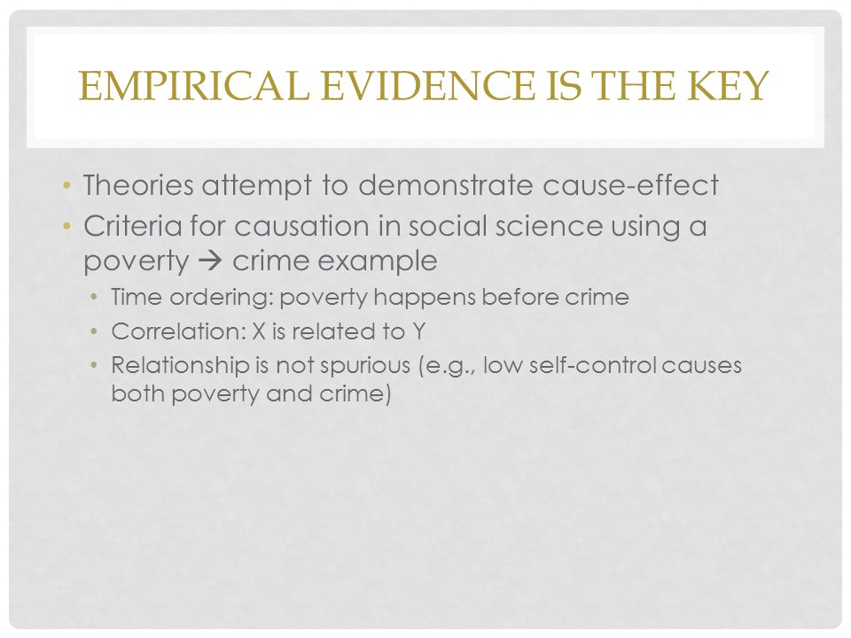 Empirical Evidence is the KEY