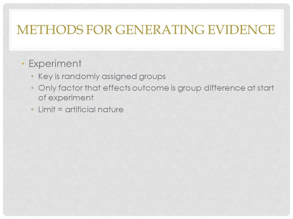 Methods for generating evidence